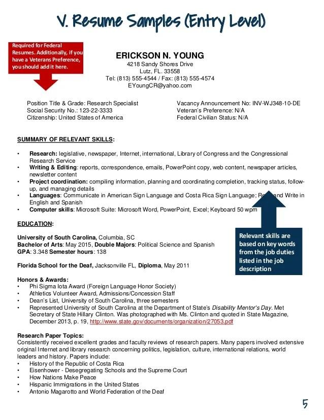 federal resume additional information