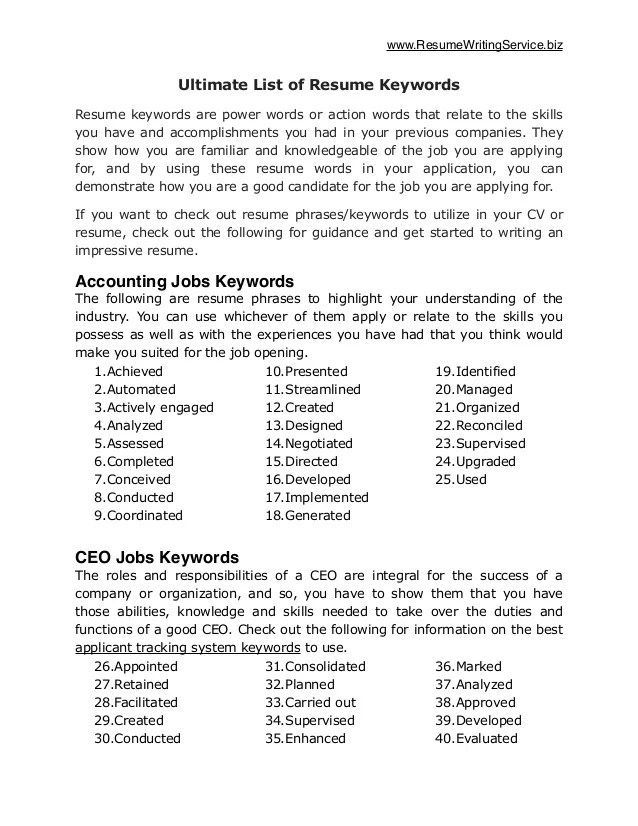 resume in keywords