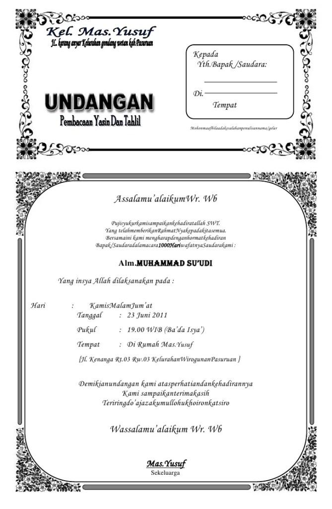 Contoh Undangan Tahlil Dan Doa Bersama - Contoh Isi Undangan