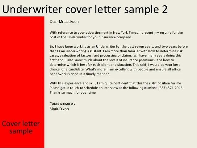 insurance underwriter cover letter