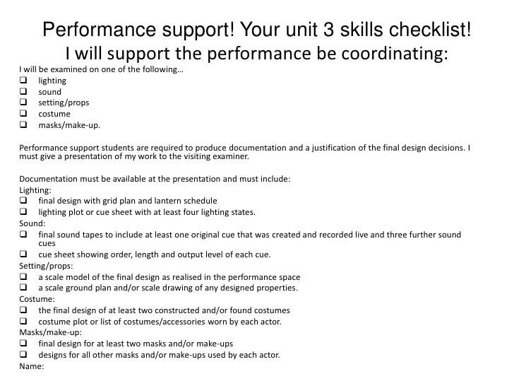 Instructional Design Criteria Checklist Unitar Edexcel Drama Gcse Unit 3 Introduction