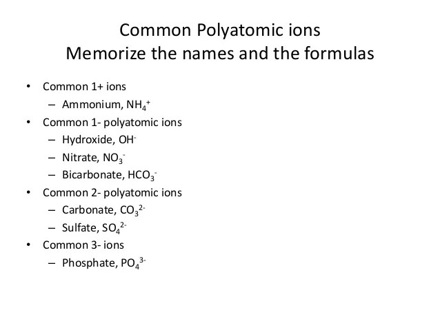 common polyatomic ions - Onwebioinnovate - poly atomic ions chart
