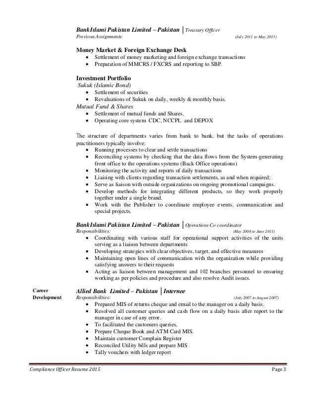 bank compliance officer resume
