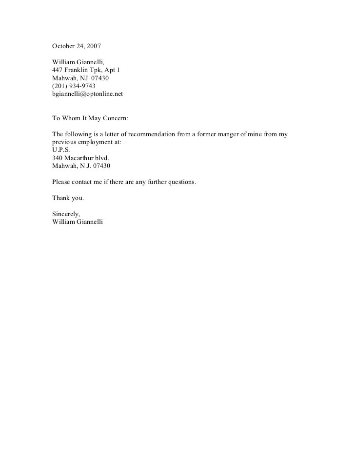 Cover Letter Alternatives For To Whom It May Concern Ups Recommendation Letter
