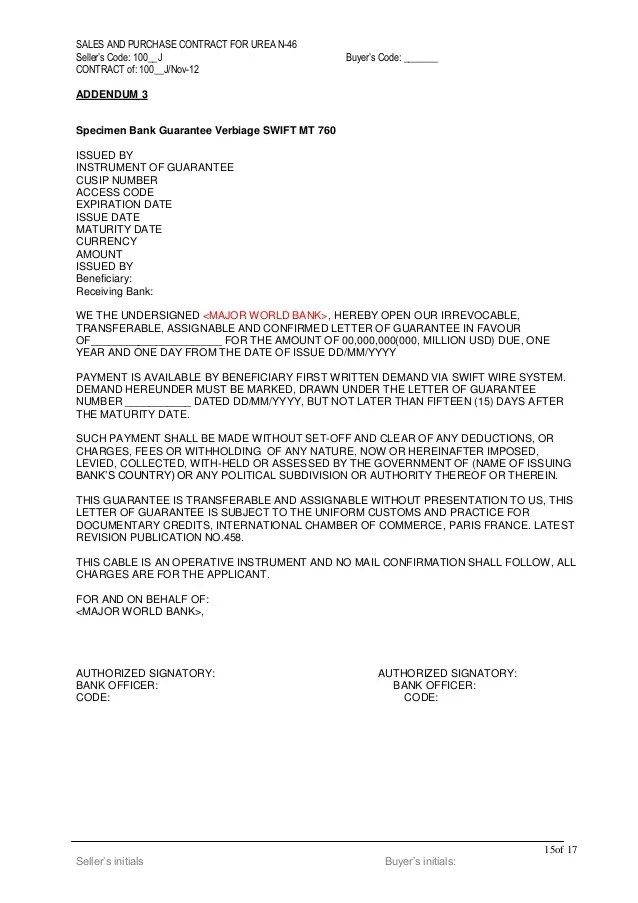 Standard Letter Of Credit Template Isp 98 Urea Draft Contract 1200 K Mt Lc Bgsblc 2