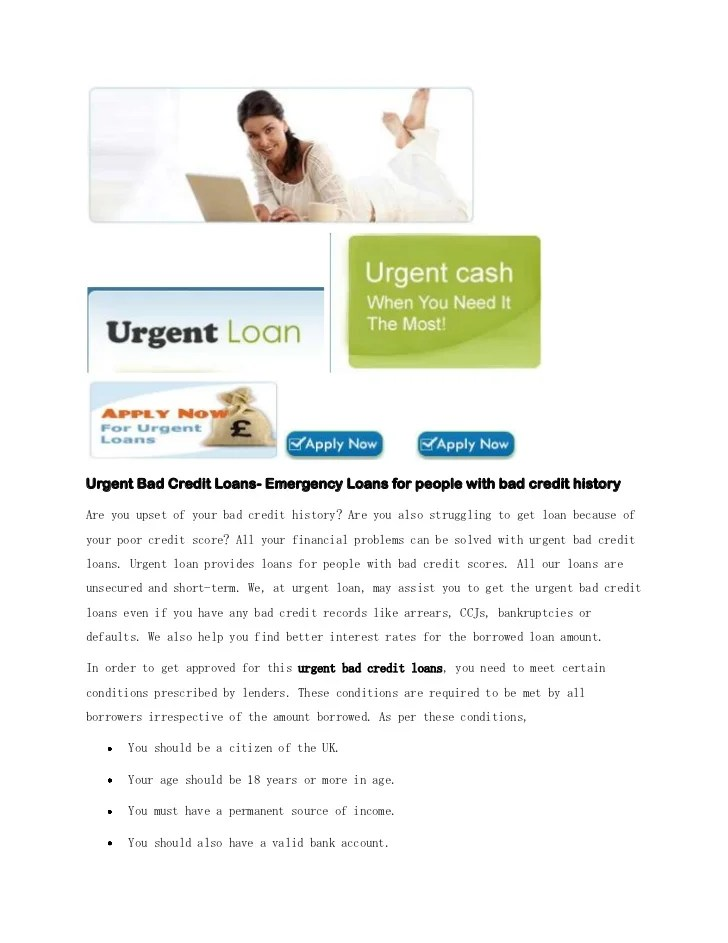 Urgent Bad Credit Loans- Emergency Loans for people with bad credit h…