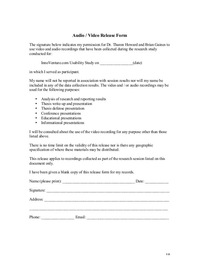 Video Release Form video consent form - hizlirapidlaunch tv3