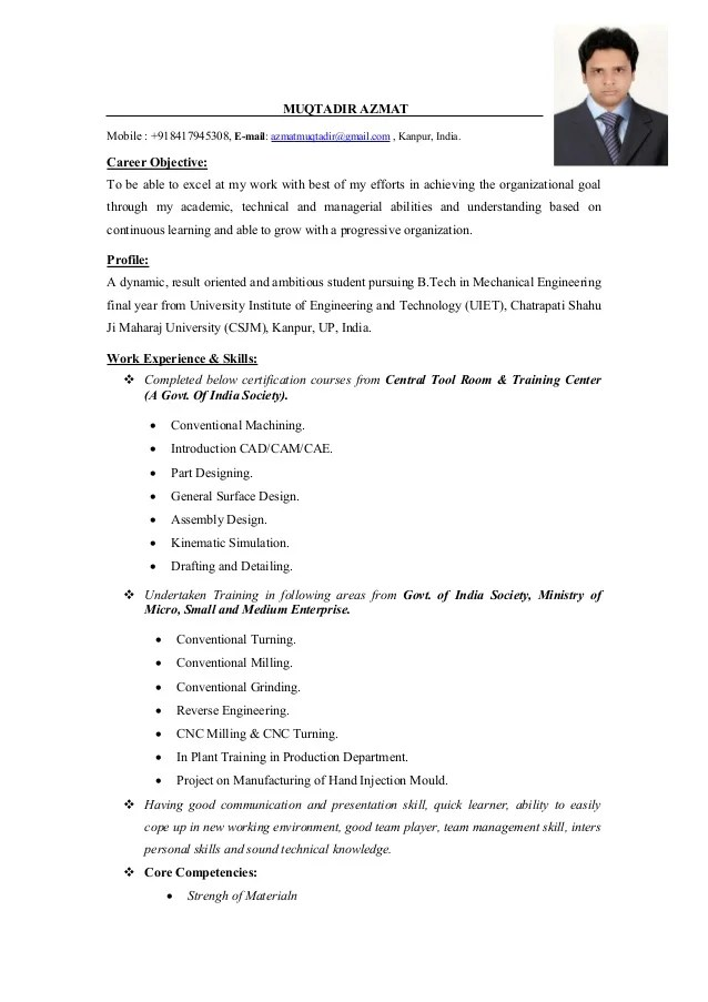 mechanical engineer objective resume - Yelommyphonecompany