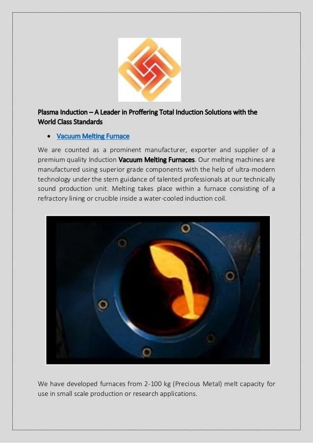 Vacuum Melting Furnace Plasma Induction