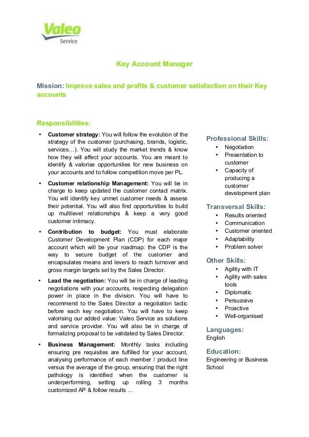 Job Description Key Account Manager – Development Director Job Description