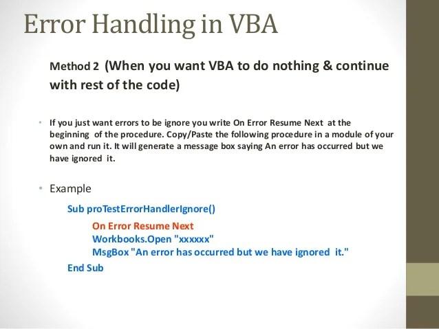 on error resume next excel vba example