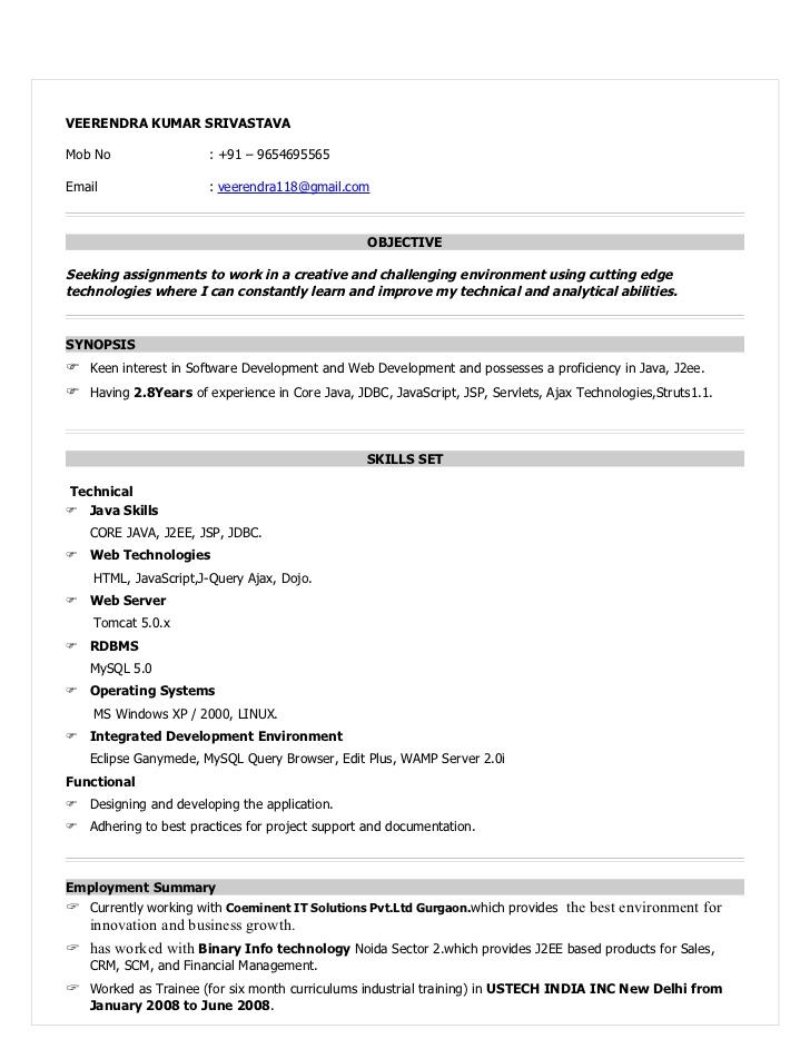 Experience Resume Format Doc Over 10000 Cv And Resume Samples With Free Download Resume For Java Devloper