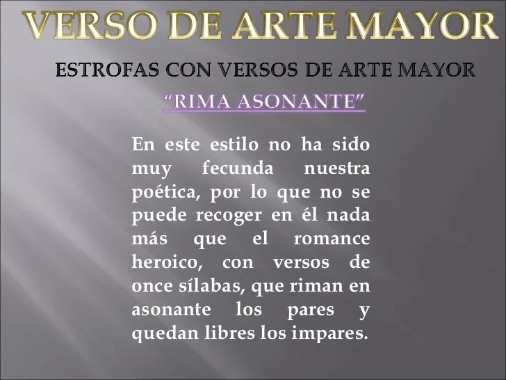 Versos De Arte Menor Y Mayor