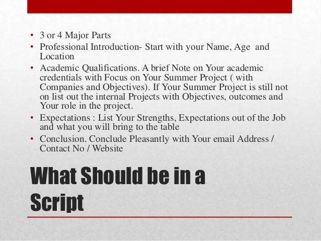 video resume script - Onwebioinnovate