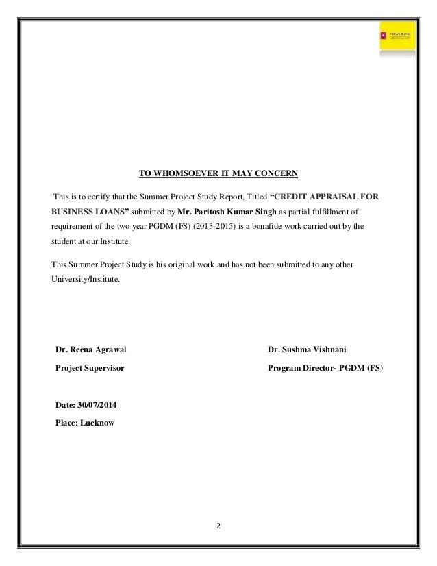 Cover Letter Samples Vijaya Bank Project Report
