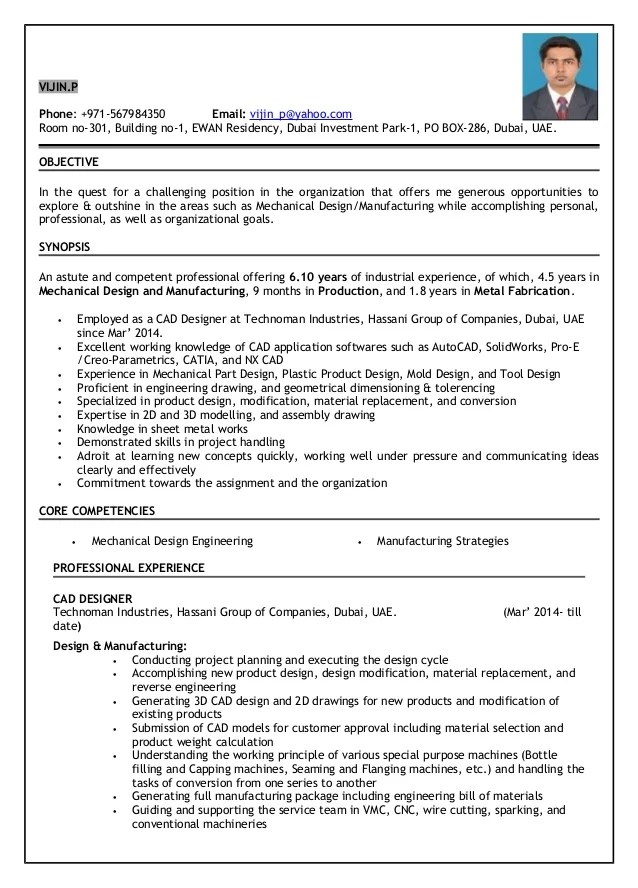 experience resume for mechanical engineer - Intoanysearch