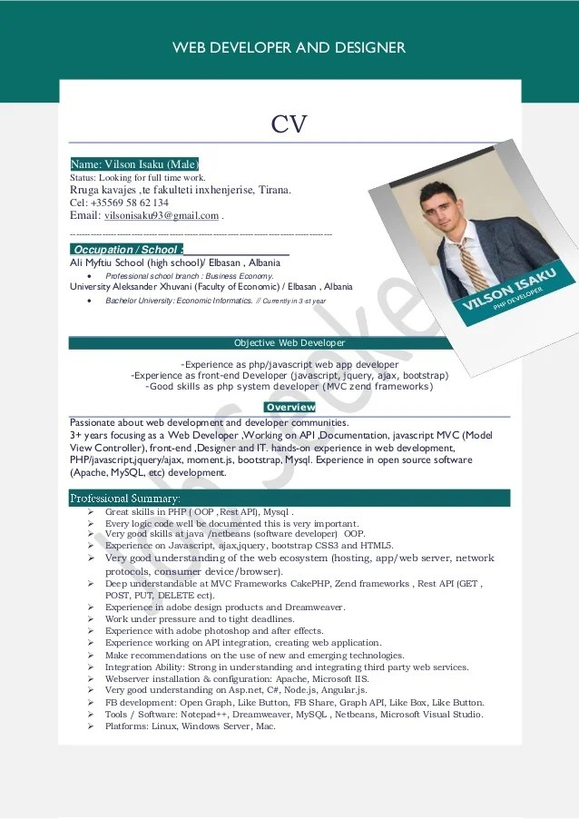 Curriculum Vitae Design Vector Free Download Vilson Isaku Cv Shqip