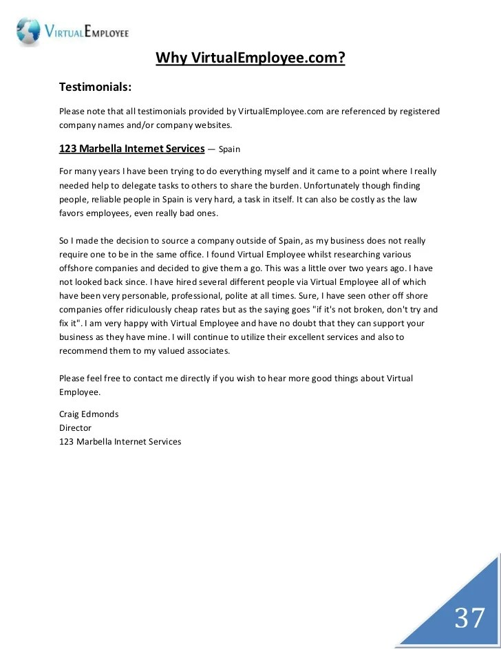Employment Reference Letter Written By A Manager Virtual Employee Remote Staffing Company India