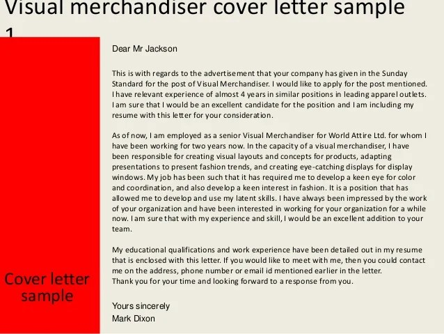 visual merchandiser cover letters - Josemulinohouse