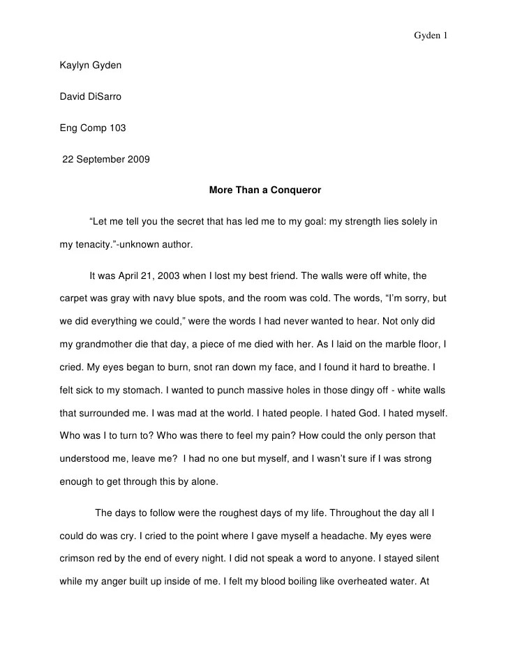 Writing A Personal Essay Doc Pdf
