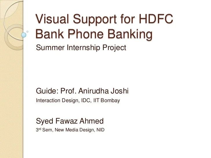 Visual support for hdfc bank phone banking