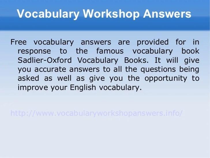 vocabulary workshop level d answers - Onwebioinnovate - vocabulary workshop level d answers
