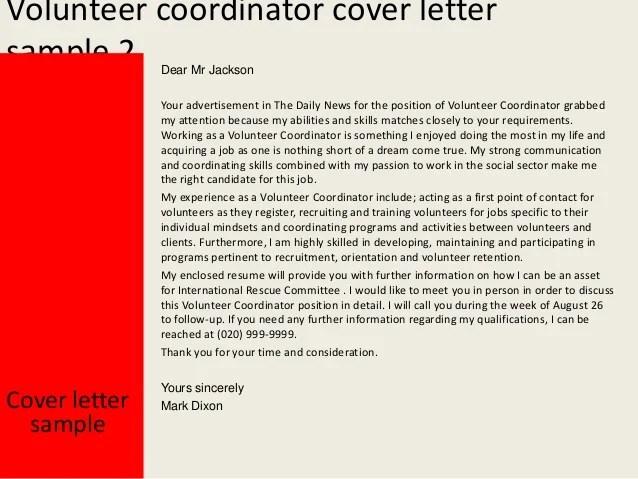 Sample Cover Letter For A Volunteer Position The Balance Volunteer Coordinator Cover Letter