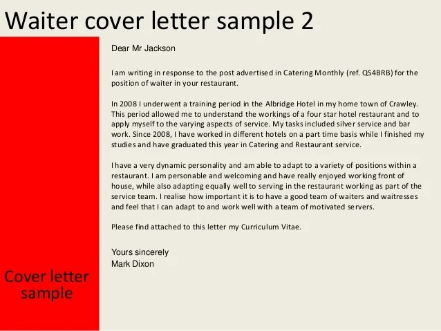 Use This Cover Letter Template To Apply For A Job Waiter Cover Letter