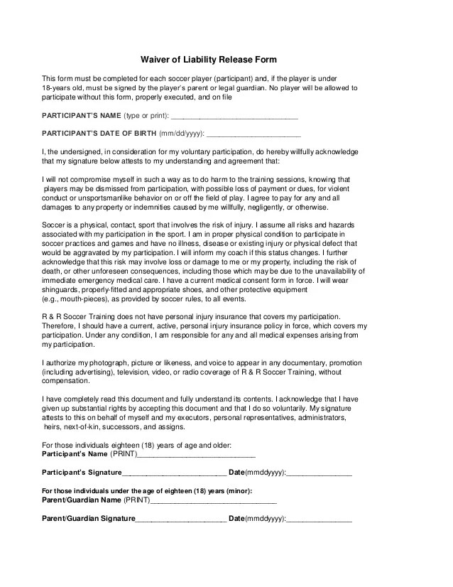 personal injury waiver form - Deanroutechoice - liability waiver template word