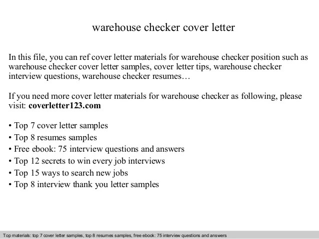 warehouse cover letter sample