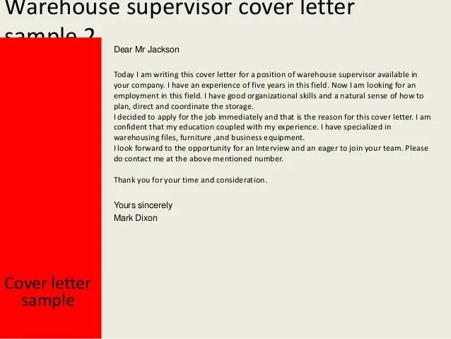 warehousing cover letter