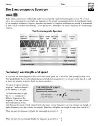 Printables. Electromagnetic Spectrum Worksheet. Ronleyba ...