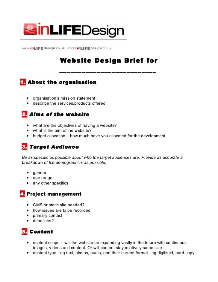 project brief template word - Kenicandlecomfortzone