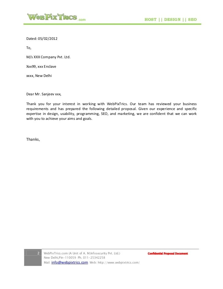 Donation Thank You Letter Examples Web Design Proposal Sample