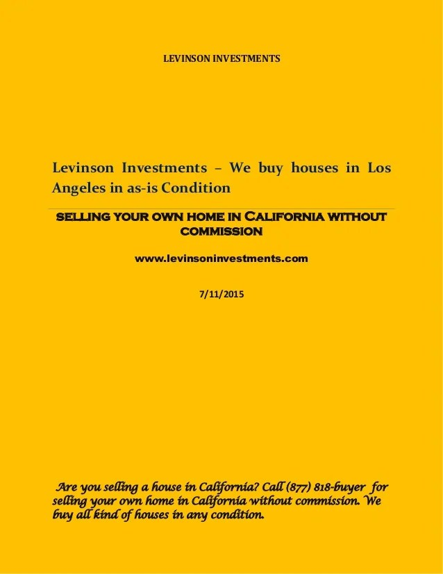 We buy houses los angeles