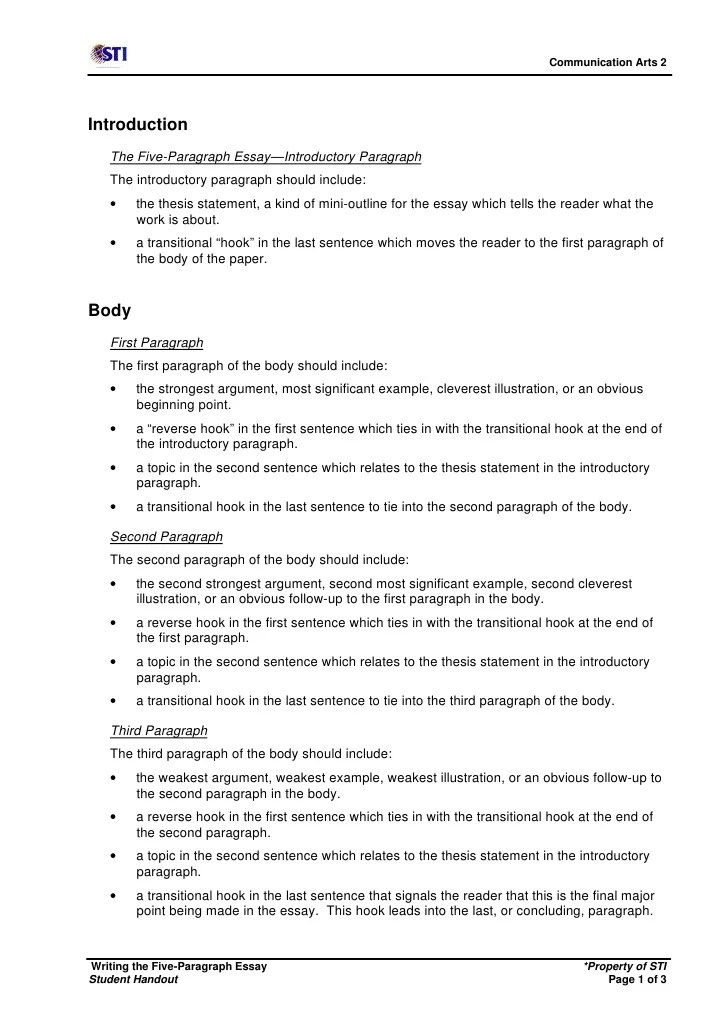3 paragraph essay format - Intoanysearch - 5 paragraph essay outline template