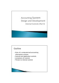 Accounting System Design and Development-Internal Controls
