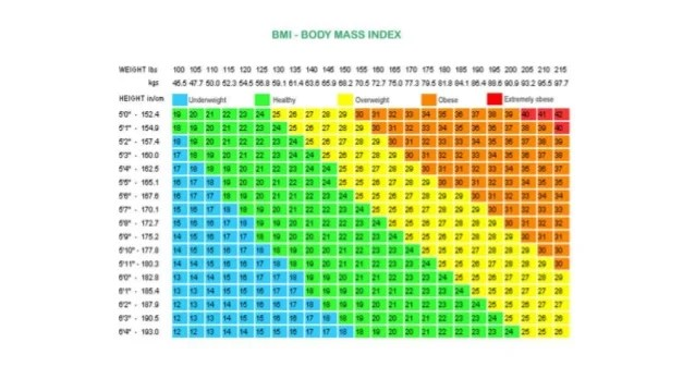 Weight Chart For Women Average Of Bmi Chart For Women By Age