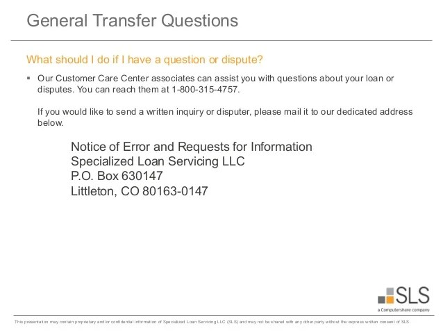 Welcome to Specialized Loan Servicing (SLS)