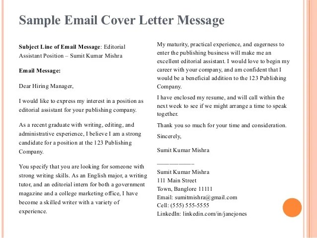 cover letter message - Josemulinohouse