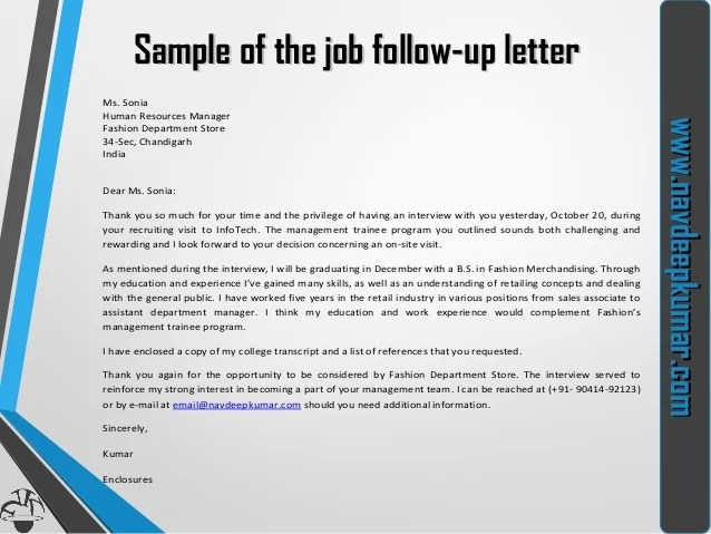 Thank You Interview Follow Up Letter Sample  Sample Of Resume