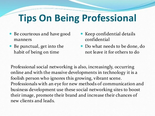 tips for professionalism - Minimfagency