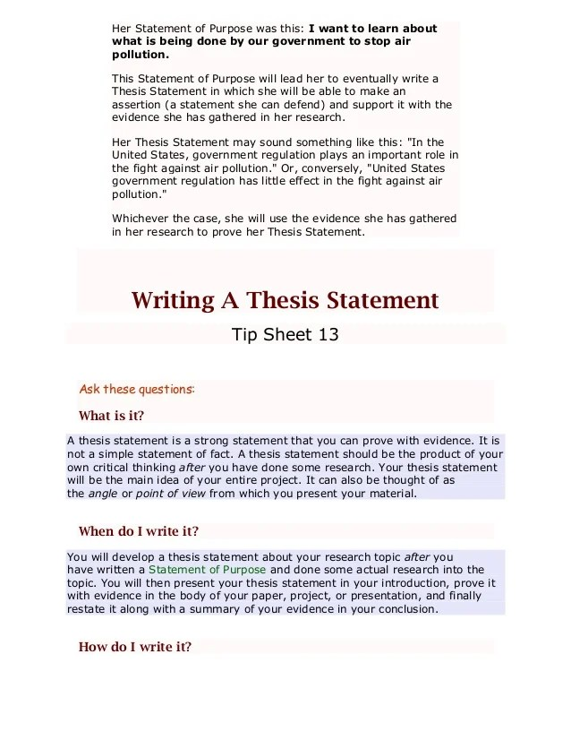 Personal Essay Thesis Statement