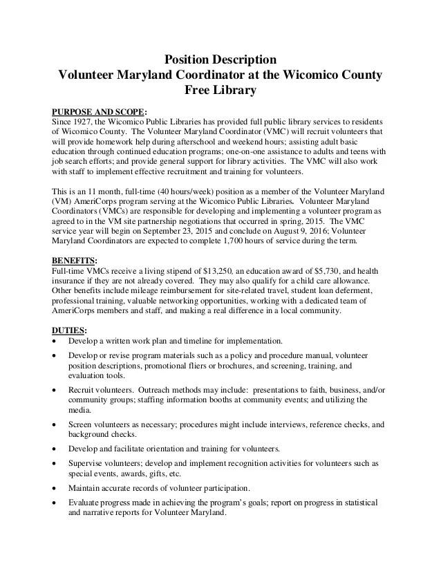 resume for volunteer coordinator position