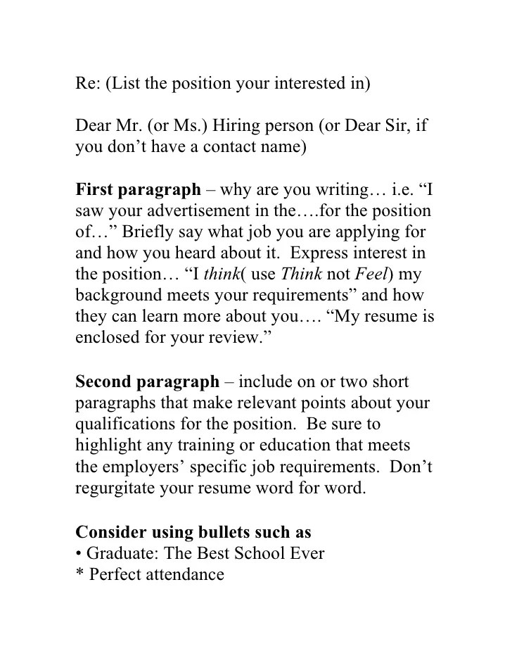 should you include a cover letters