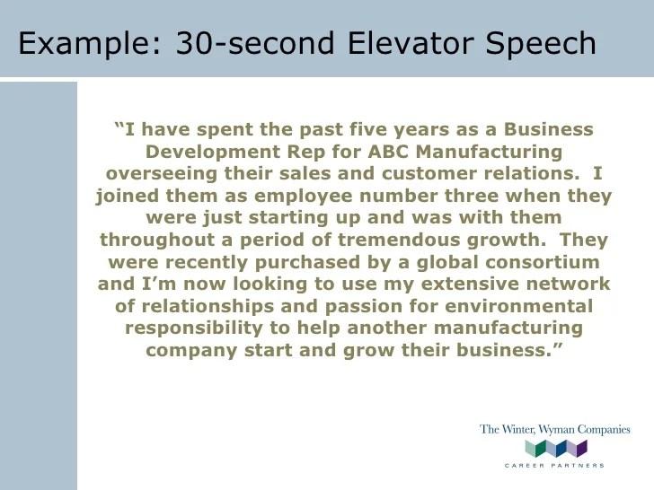 30 Second Elevator Speech - Ppt Video Online Download masterlist