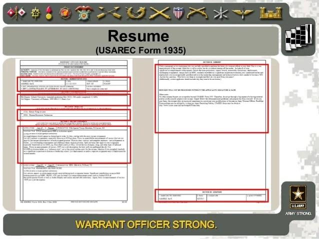 warrant officer resume summary example