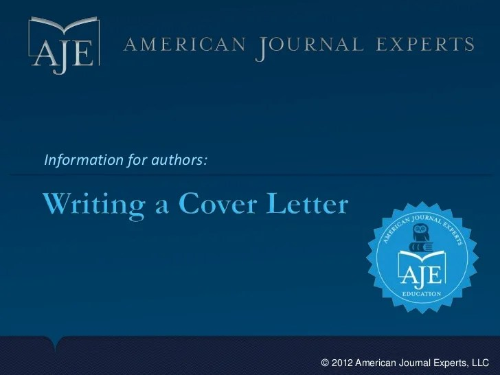 Writing a cover letter for a manuscript