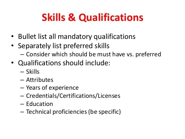skills and qualifications for a job - Maggilocustdesign
