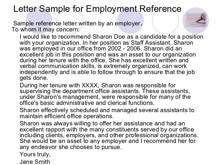 reference letter for job from an employer reference letter samples from a previous employer letter sample